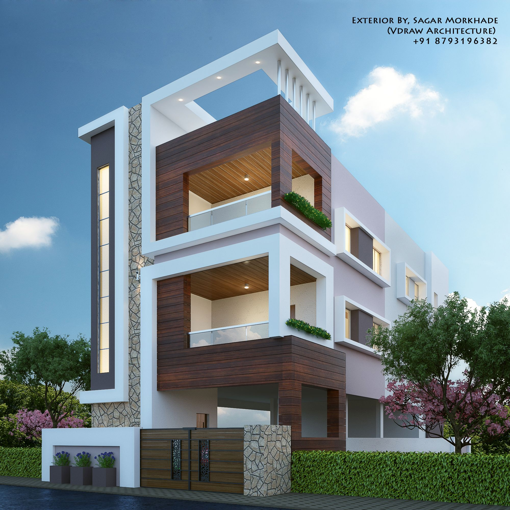 Modern Residential House Bungalow Exterior By Sagar