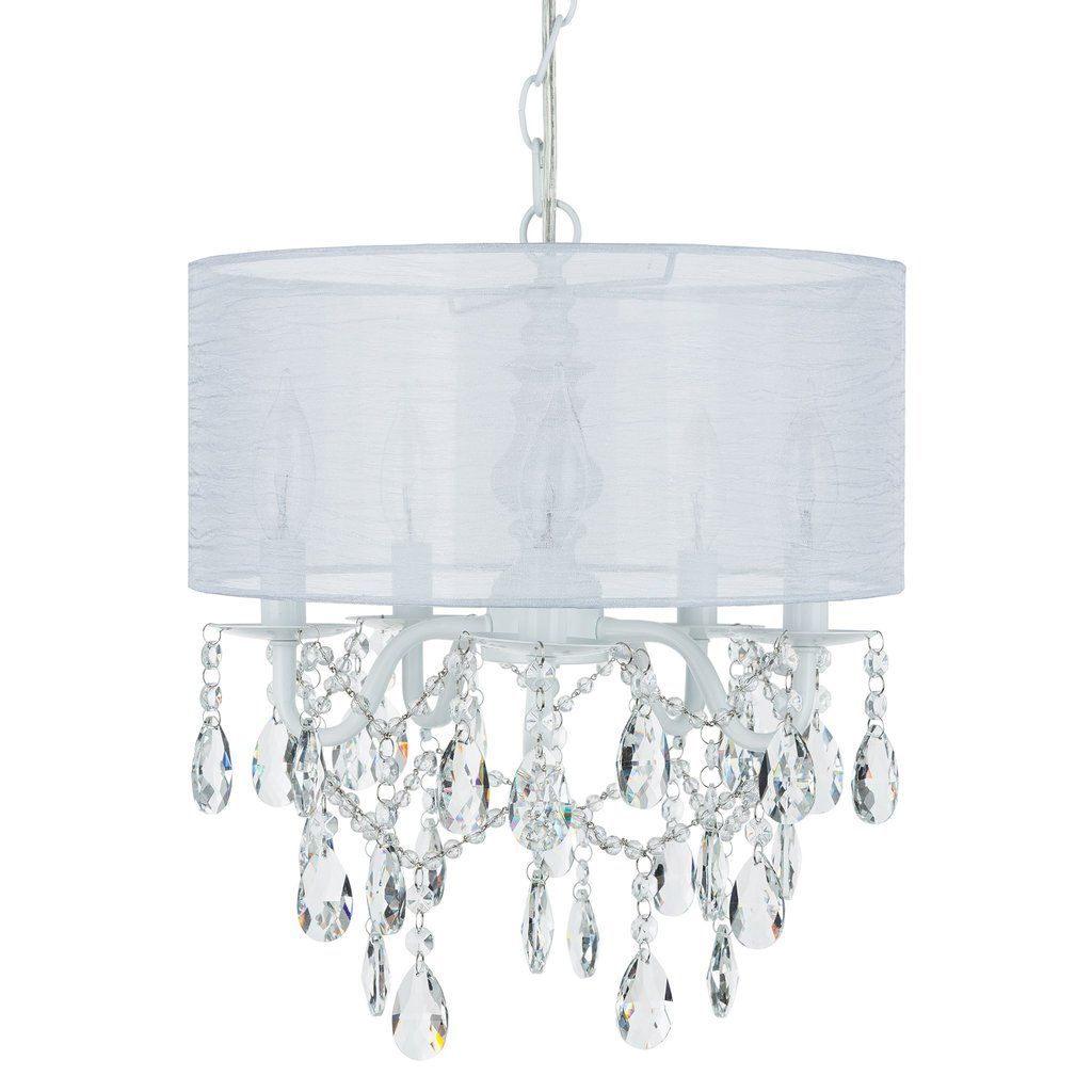 5 Light Crystal Plug In Chandelier With Cylinder Shade White