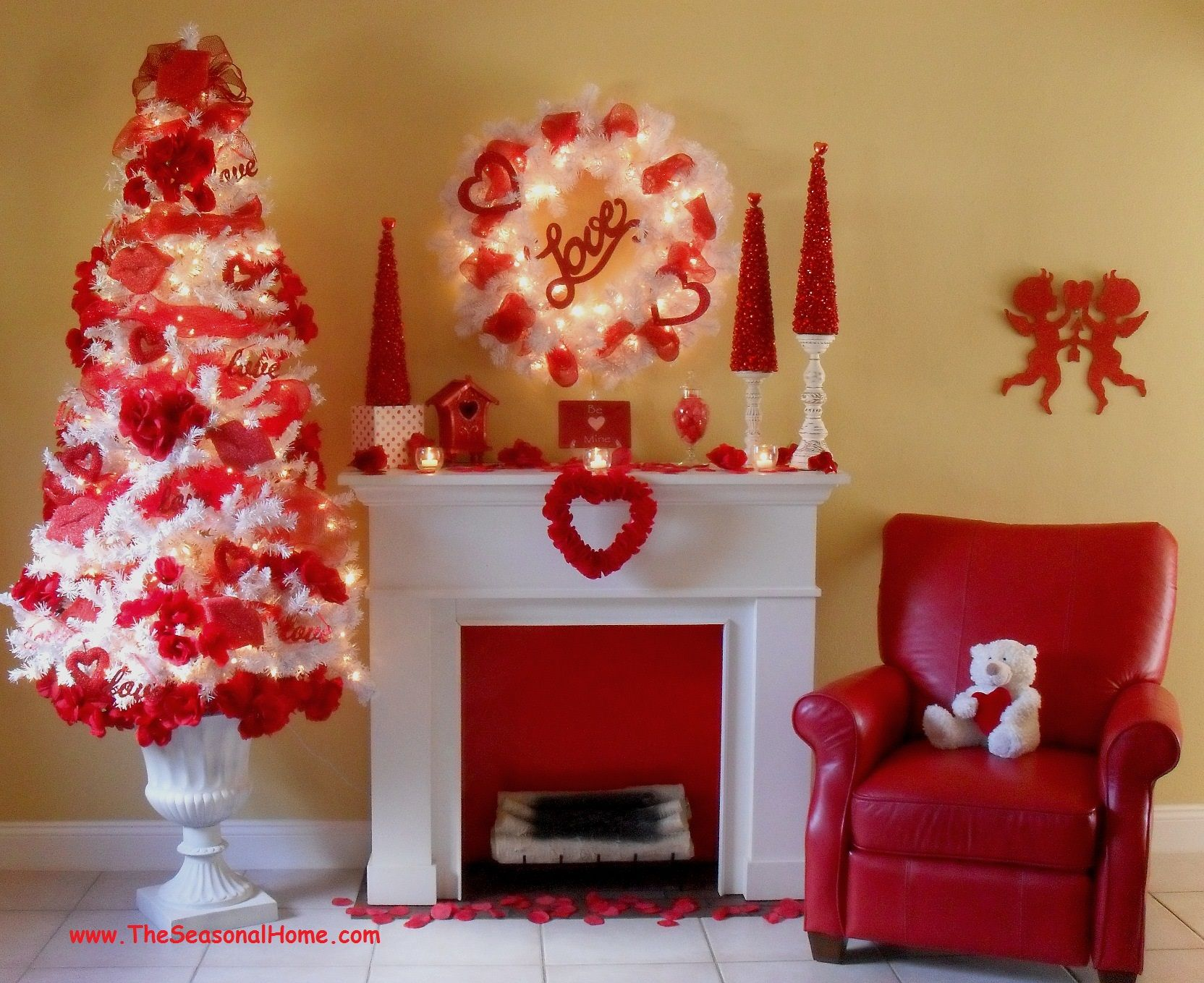Valentine decorations for the home and a planter tree for Valentine decorations to make at home