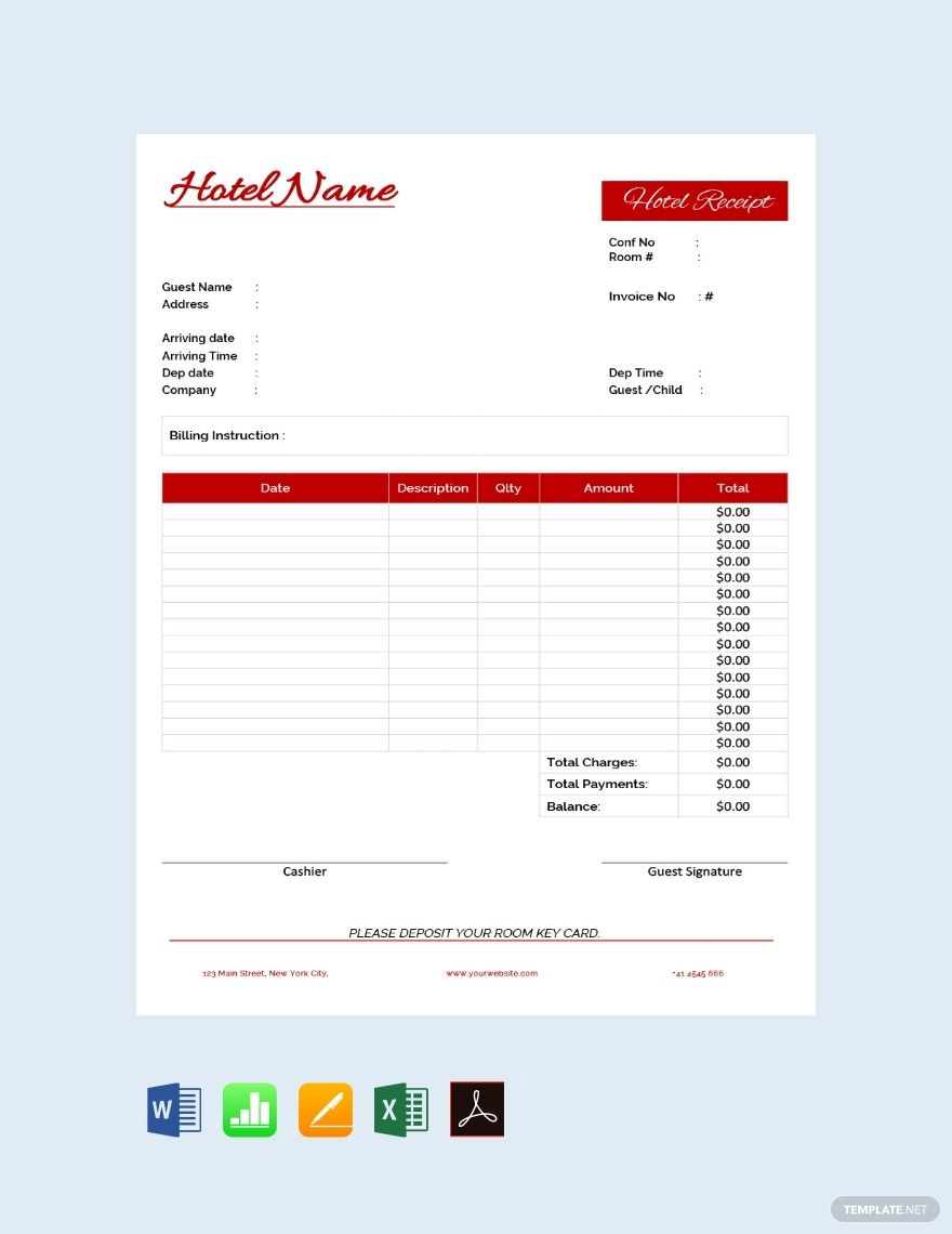 Hotel Receipt Template Free Pdf Word Excel Apple Pages Google Docs Google Sheets Apple Numbers Receipt Template Invoice Template Word Ticket Template