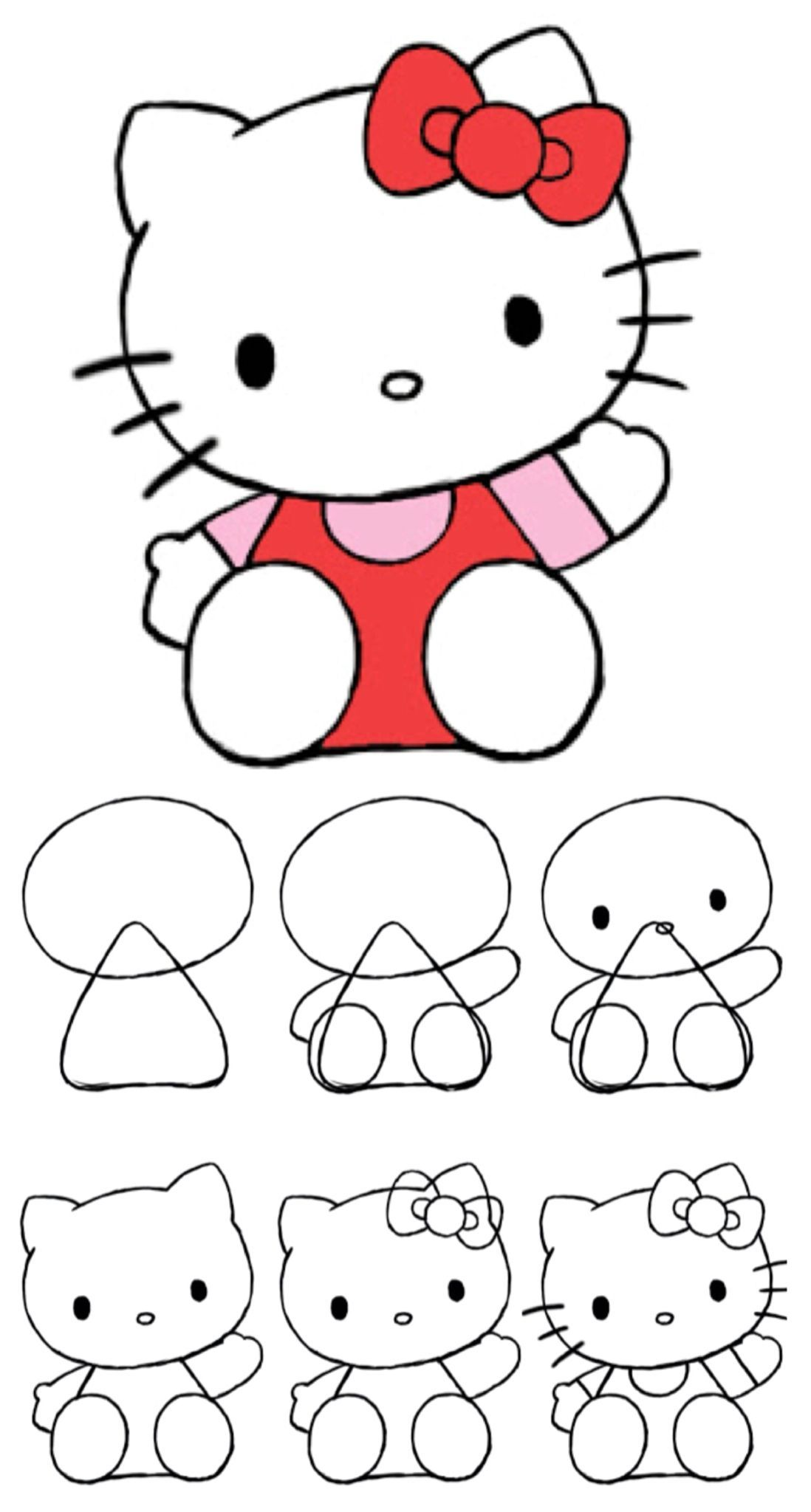 How To Draw Hello Kitty Via Draw Central Hello Kitty Drawing Kitty Drawing Art Drawings For Kids