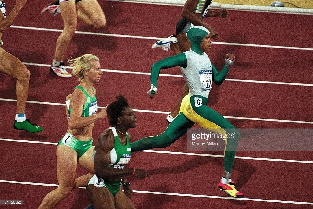 2000 Summer Olympics Aerial View Of Australia Cathy Freeman In Action During Final At Olympic Stadium Sydney AUS