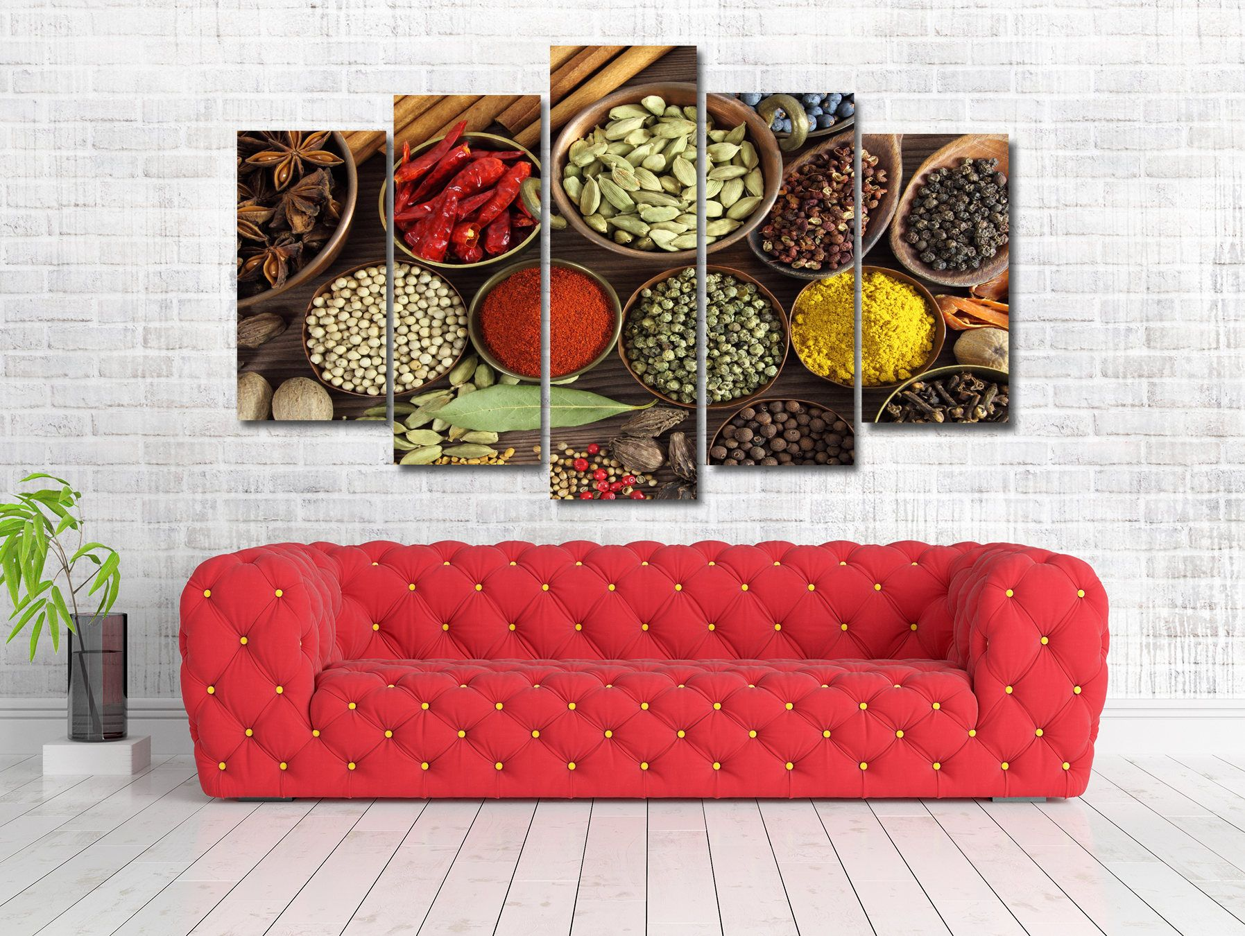 food drink spices kitchen framed canvas print wall art multi