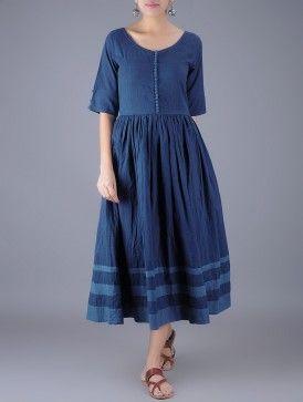 66bddef0f7c Indigo Round Neck Gathered Natural Dyed Cotton Dress