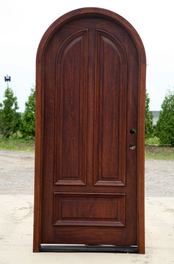 Mahogany round top door this door with seededglass for Black wooden front door
