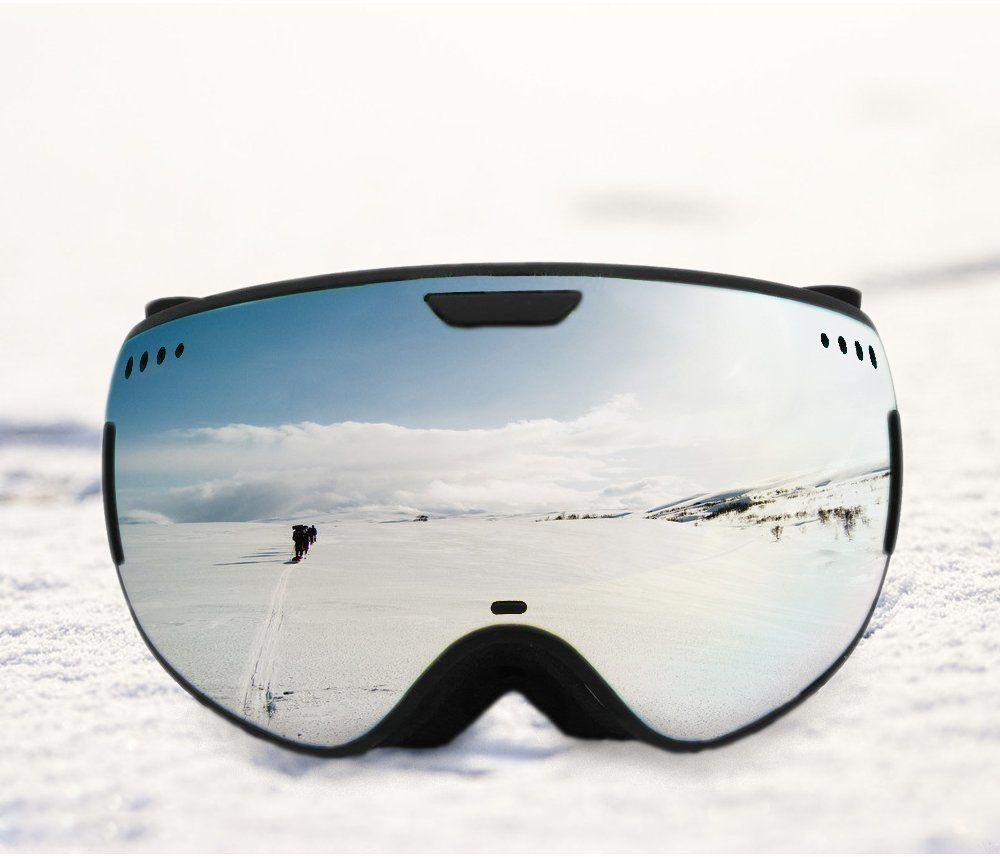 Hicool Xcel Unisex Ski Snow Skate Snowboard Snowmobile Goggle with Mirrored Lens - Anti-Fog UV Protection Detachable Wide Spherical Goggle Lens (Gold/Black) | Amazon.com