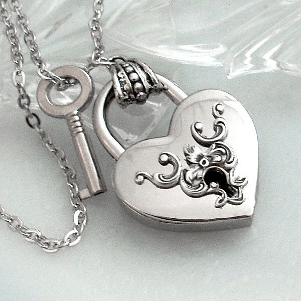 Heart lock and key. Silver heart lock necklace. Valentines ...