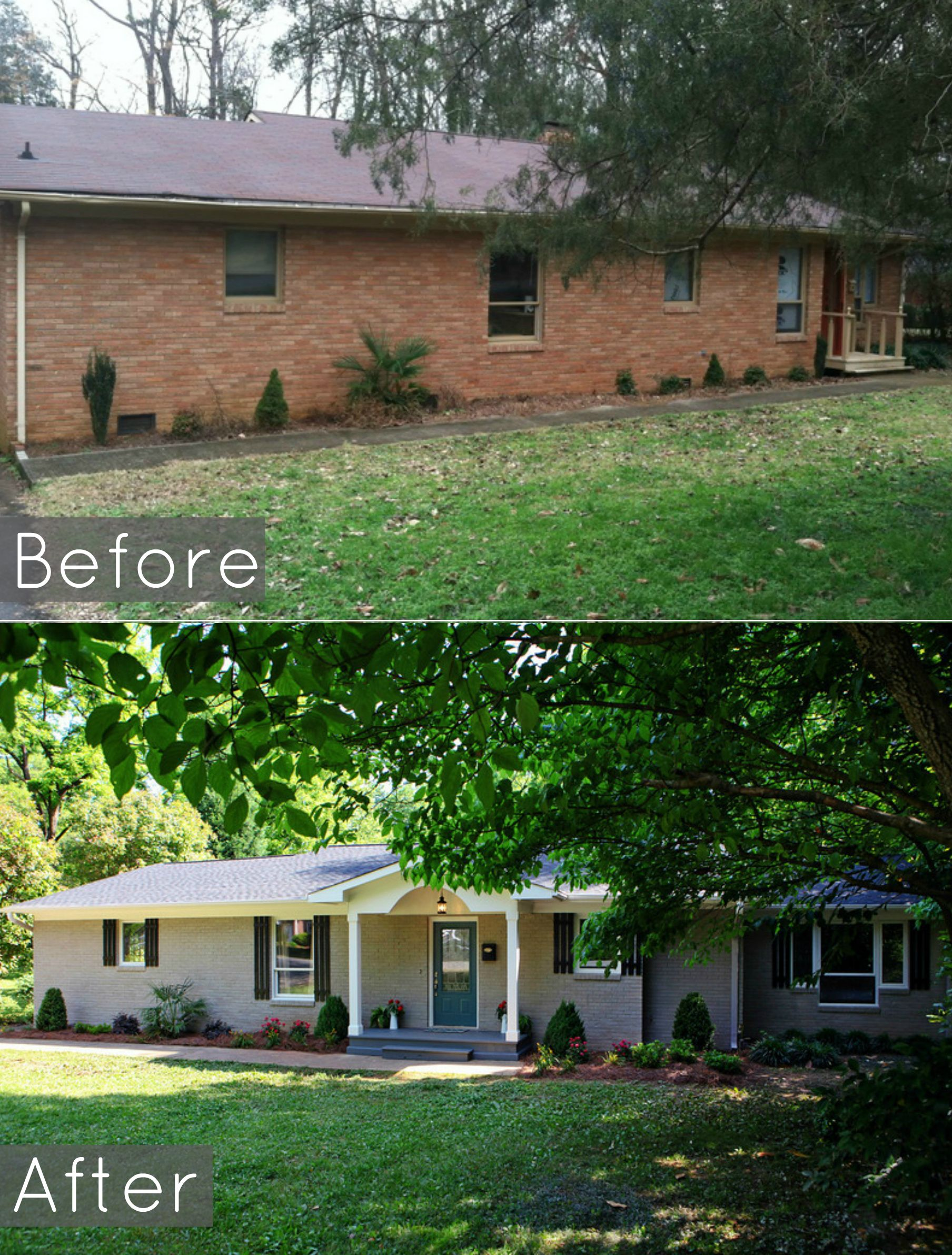 Ranch Curb Appeal Before And After Exterior Makeover