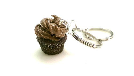 Cupcake Keychain Chocolate Keychain Cupcake by MalynsHandmade
