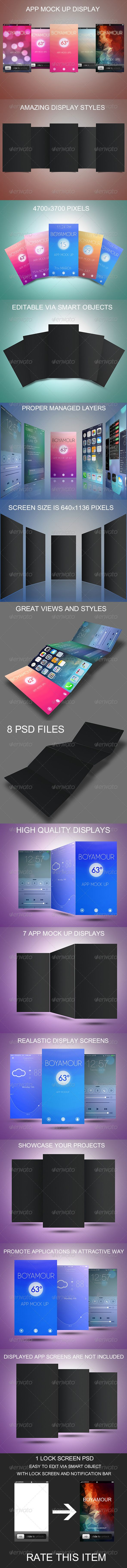app mock up set features 8 psd files 7 display screens and