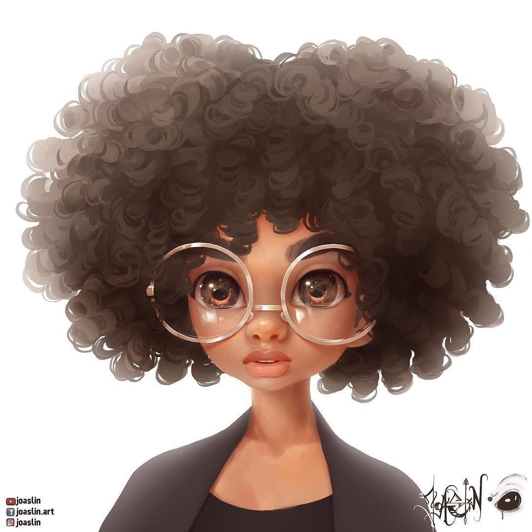 Black Art 365 On Instagram Curly Brown With Big Glasses Art Of Joaslin Digitalart Digitalpaint In 2020 Curly Hair Styles Black Girl Cartoon Natural Hair Art