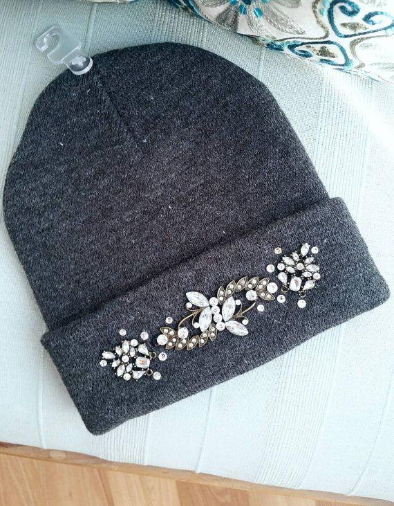 ff30a8409 Swarovski Jeweled Grey Rhinestone Beanie Winter Hat   Вышивка ...