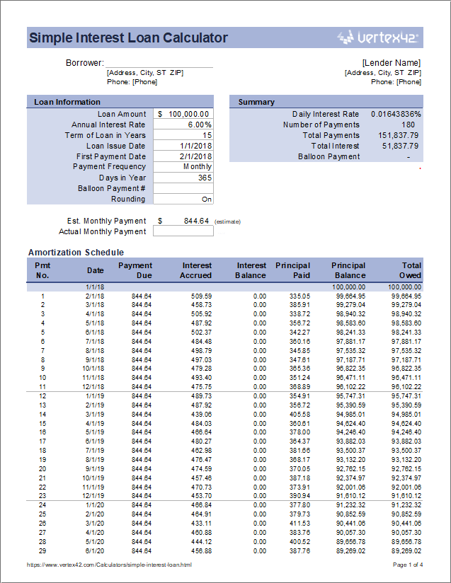 Download The Simple Interest Loan Calculator From Vertex42 Com Amortization Schedule Mortgage Amortization Mortgage Amortization Calculator