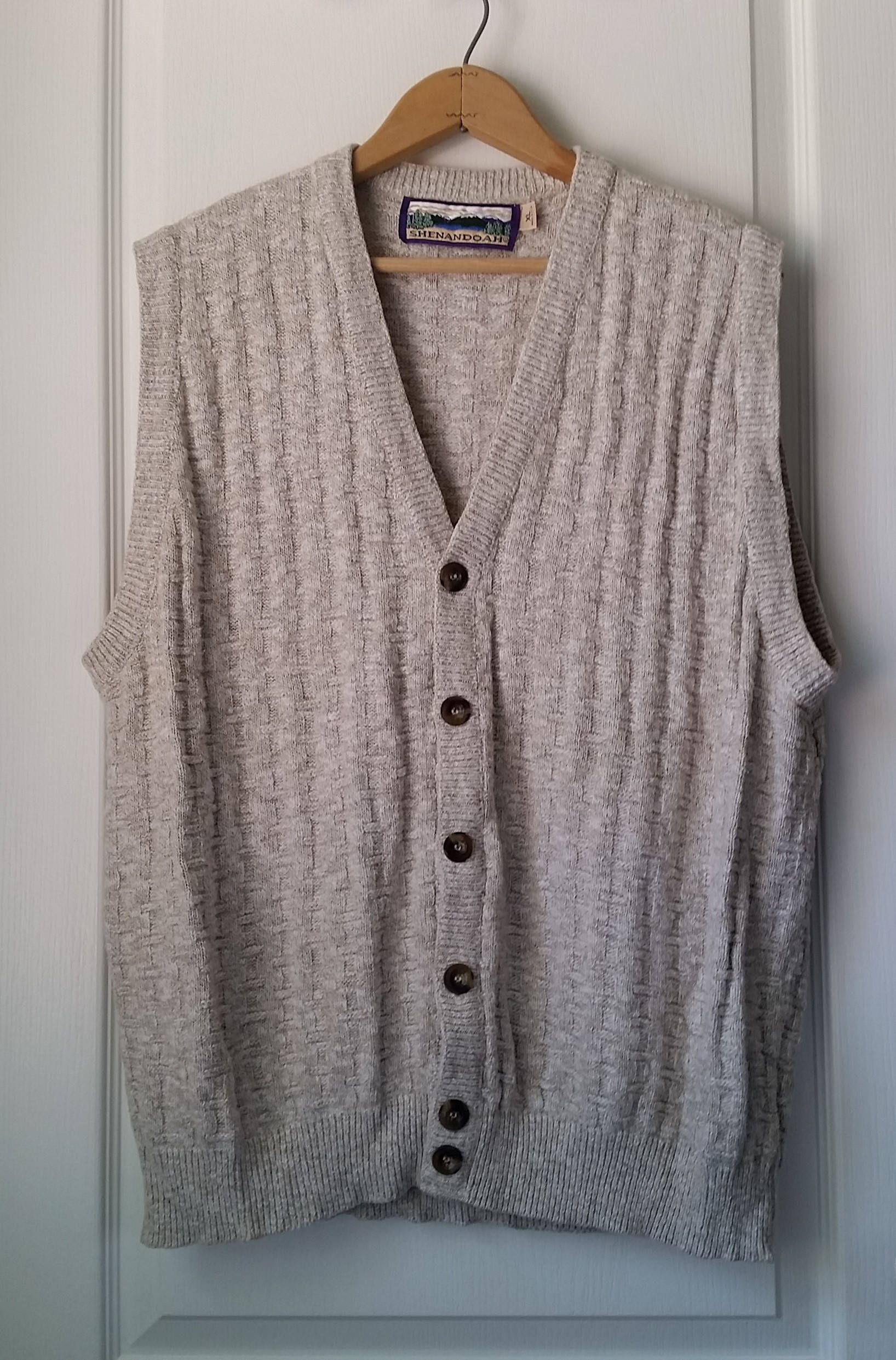 Mens Large Sweater Vest Button Front V Neck Basketweave Knit Vest