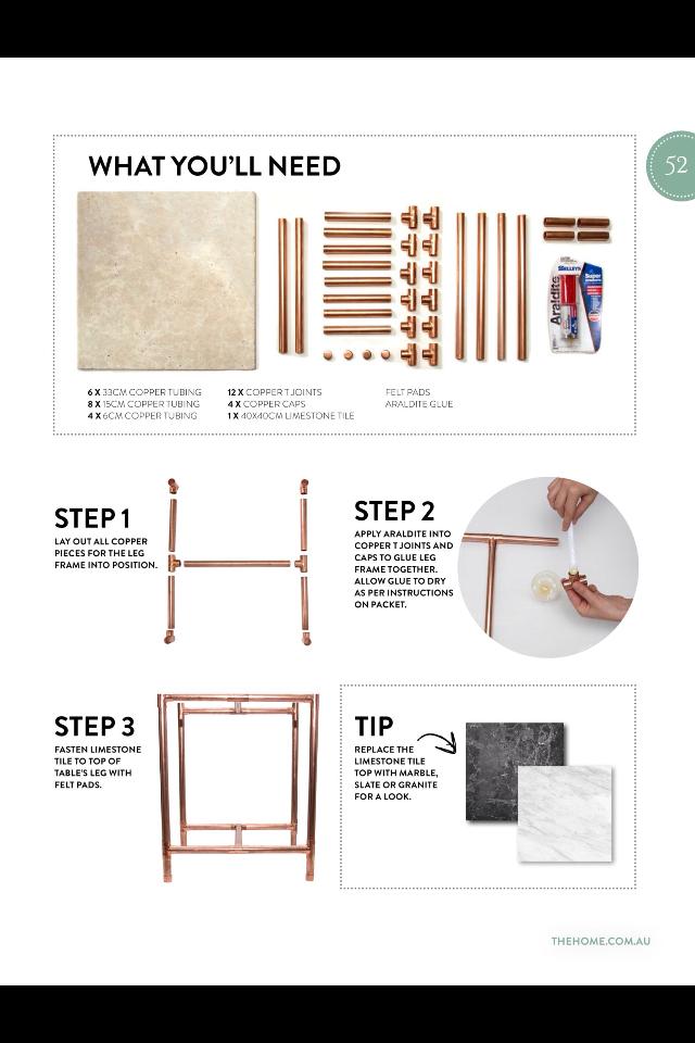 Diy Marble And Copper Side Table