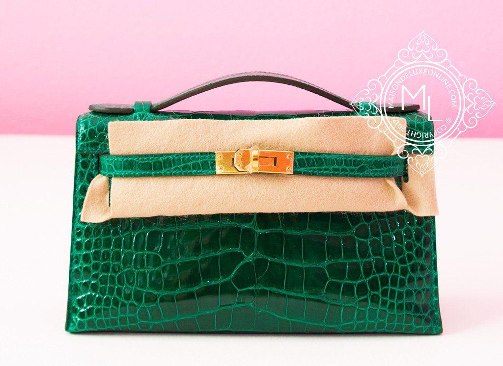 hermes green vert emeraude emerald crocodile mini kelly pochette rh pinterest com