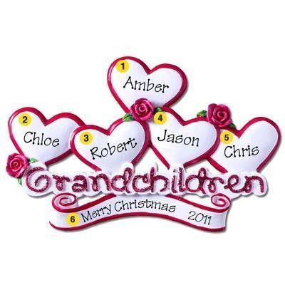 Grandchildren with 5 Hearts Personalized Christmas Ornament