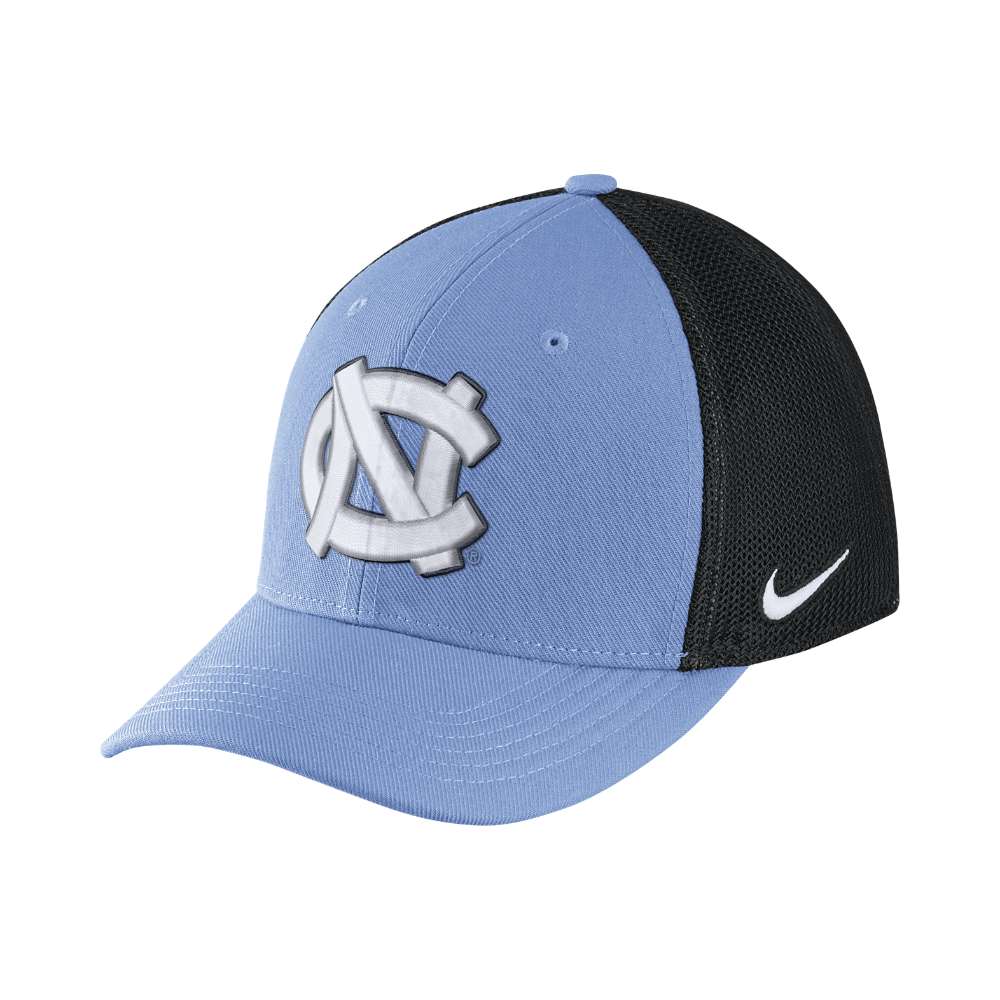 Nike College AeroBill Swoosh Flex (UNC) Fitted Hat Size FLX (Blue ... dae37773c0c