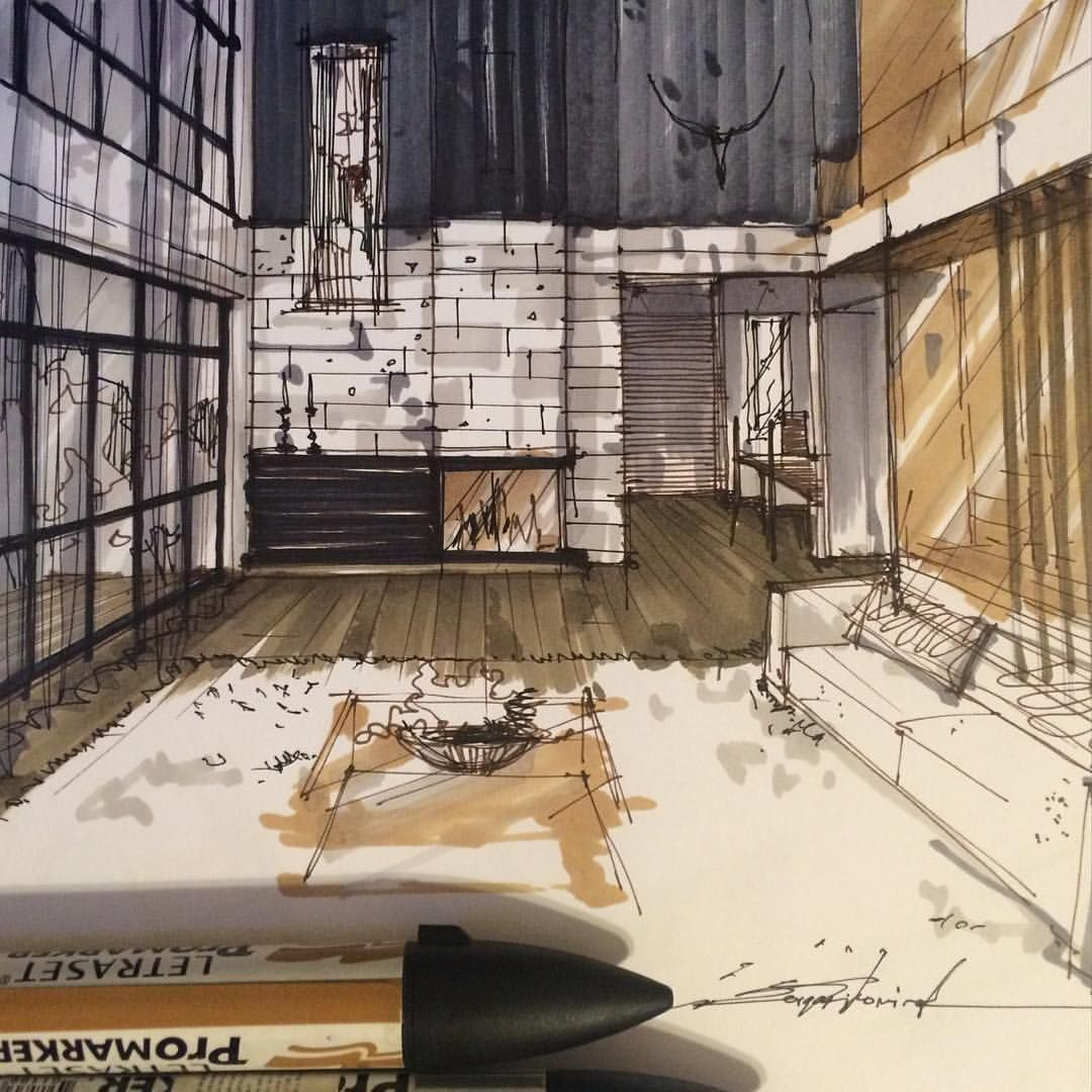 Restaurants and cafes interior sketches by Belenko