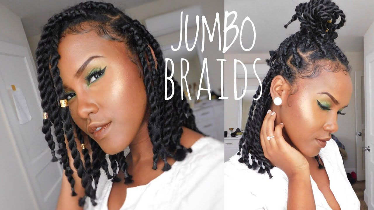 How To Do Short Chunky Jumbo Box Braid Twist On Natural Hair By