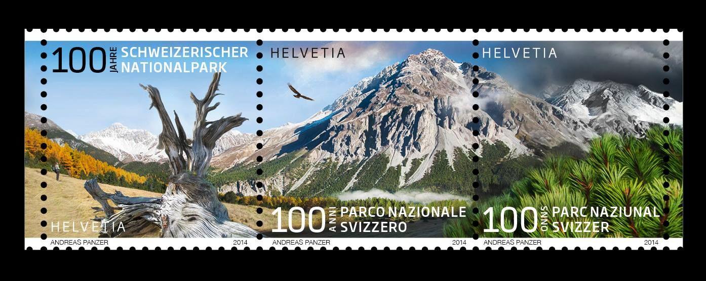 Jubiläumsbriefmarken von Andreas Panzer erhältlich  Zum 100-Jahr-Jubiläum des Schweizerischen Nationalparks gibt die Schweizerische Post drei Sondermarken à 1 Franken in Form eines Zusammendrucks heraus.  Die Marken sind ab 6. März 2014 an allen Post- und Philateliestellen der Schweiz erhältlich und frankaturgültig.