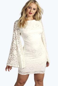 Plus Ashley Lace Wide Sleeve Dress