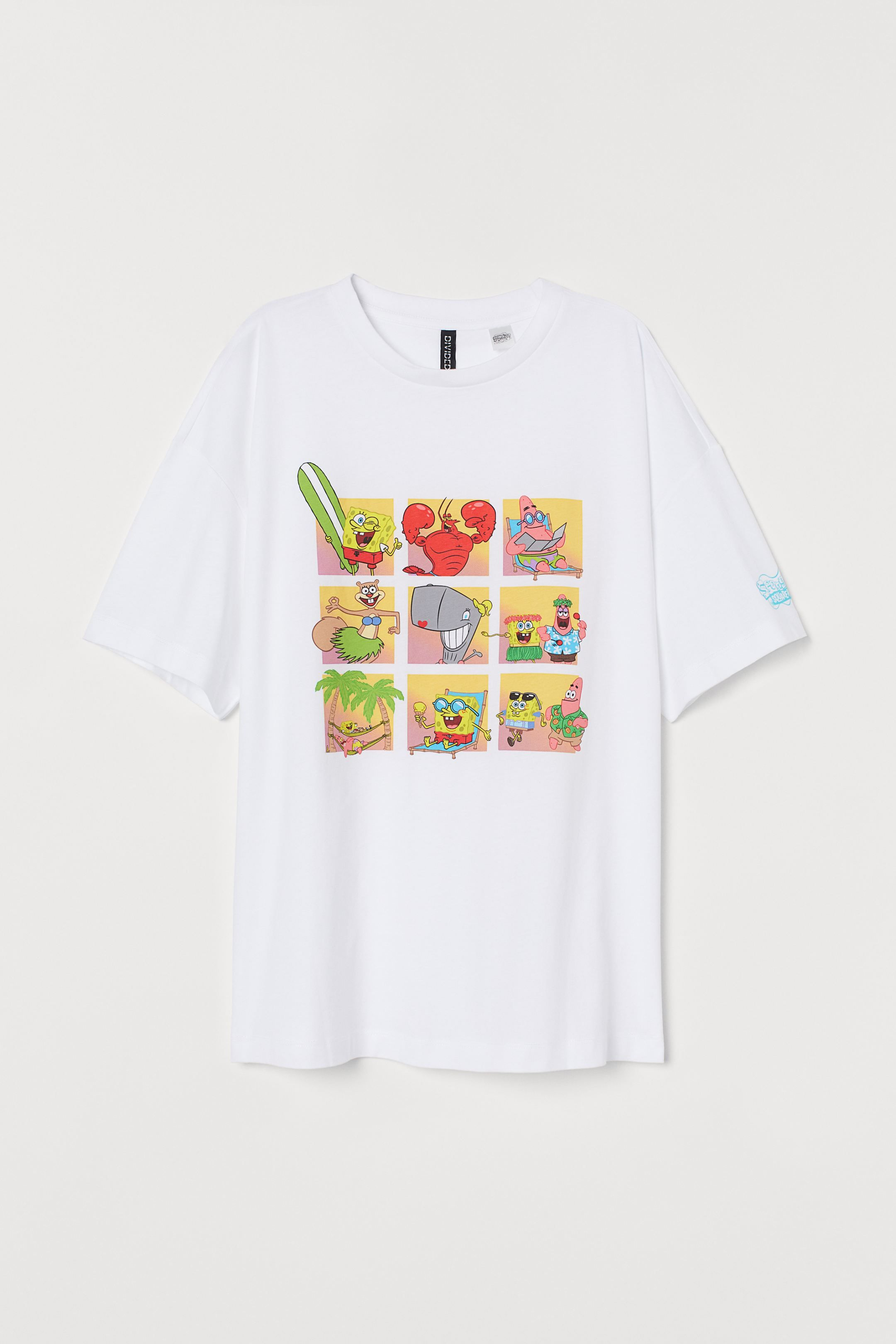 Printed T Shirt White Spongebob Squarepants H M In 2020 Paint Shirts Print T Shirt Printed Shirts