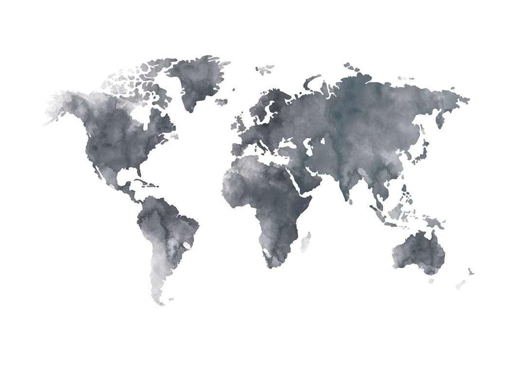 Online coloring world map - World Map Grey Poster