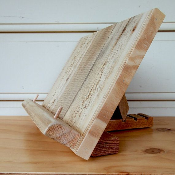 This Book Stand Is Made From Reclaimed Wood Floorboards The Wood Is Salvaged Prepared Cleaned And Made Ready Cook Book Stand Cookbook Stand Diy Book Stands