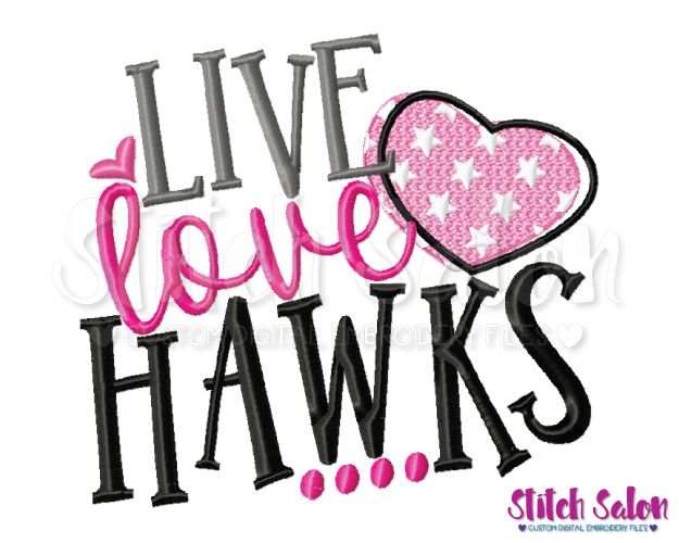 Download Live Love Hawks Embroidery Design Files for Cheer & Sports ...