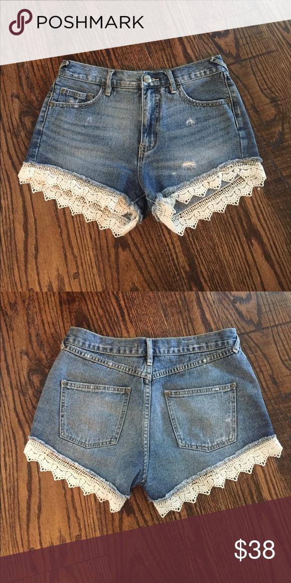Free People denim shorts with lace trim!! Medium wash