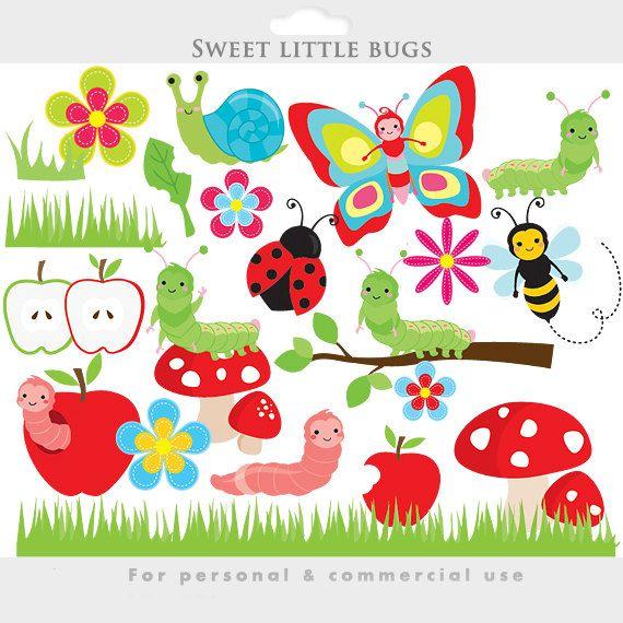 Cute Bugs Clipart Bugs Clip Art Caterpillar Worm Ladybug Etsy In 2021 Clip Art Ladybug Flower Clipart