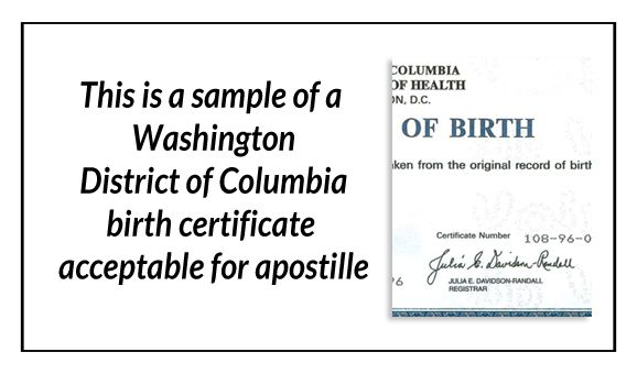 This is a sample of a Washington District Of Columbia Birth - birth certificate template word