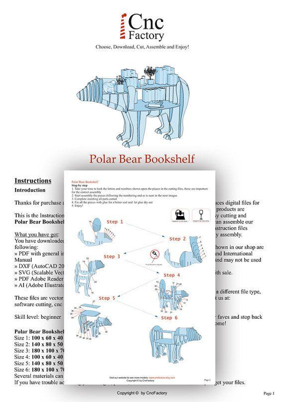 POLAR BEAR BOOKSHELF - Template cutting file - Polar Bear - laser ...