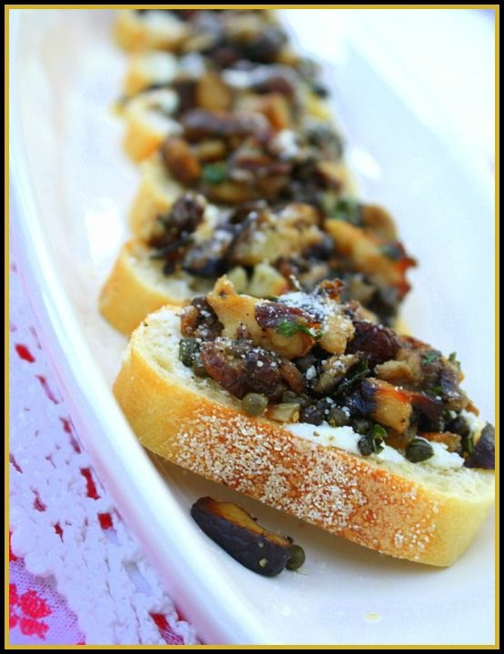 Tapas Menu Ideas For Dinner Party Part - 32: Goat Cheese Bruschetta, With Mushrooms, Capers And Anchovies, Summer Tapas  Dinner Menu
