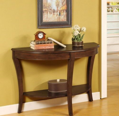 Sofa Table One Shelf Rich Walnut Finish