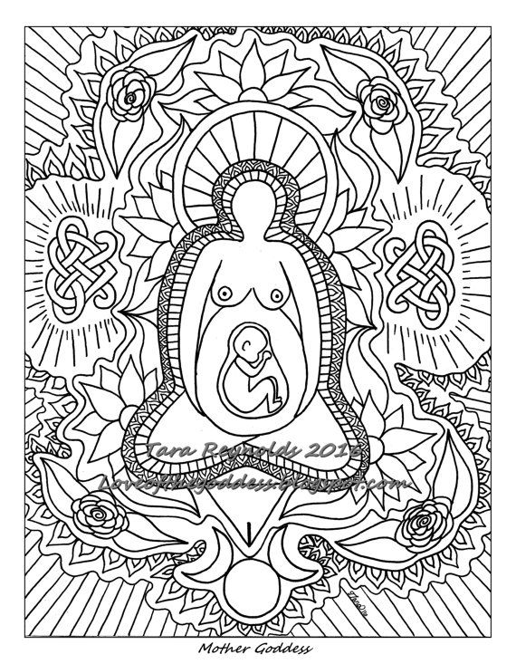 Pagan Art, Goddess Art, Coloring Page, Mothers Day Divine Feminine ...