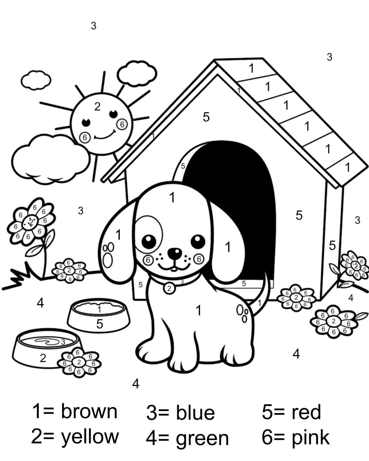 Color By Number Coloring Page Free Printable My Mommy Style Puppy Coloring Pages Dog Drawing For Kids Numbers For Kids