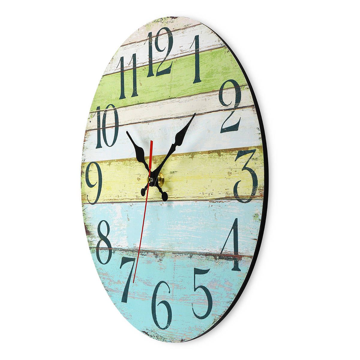 Rustic Vintage Wall Clock Coloured Boards For Home Stylish Design