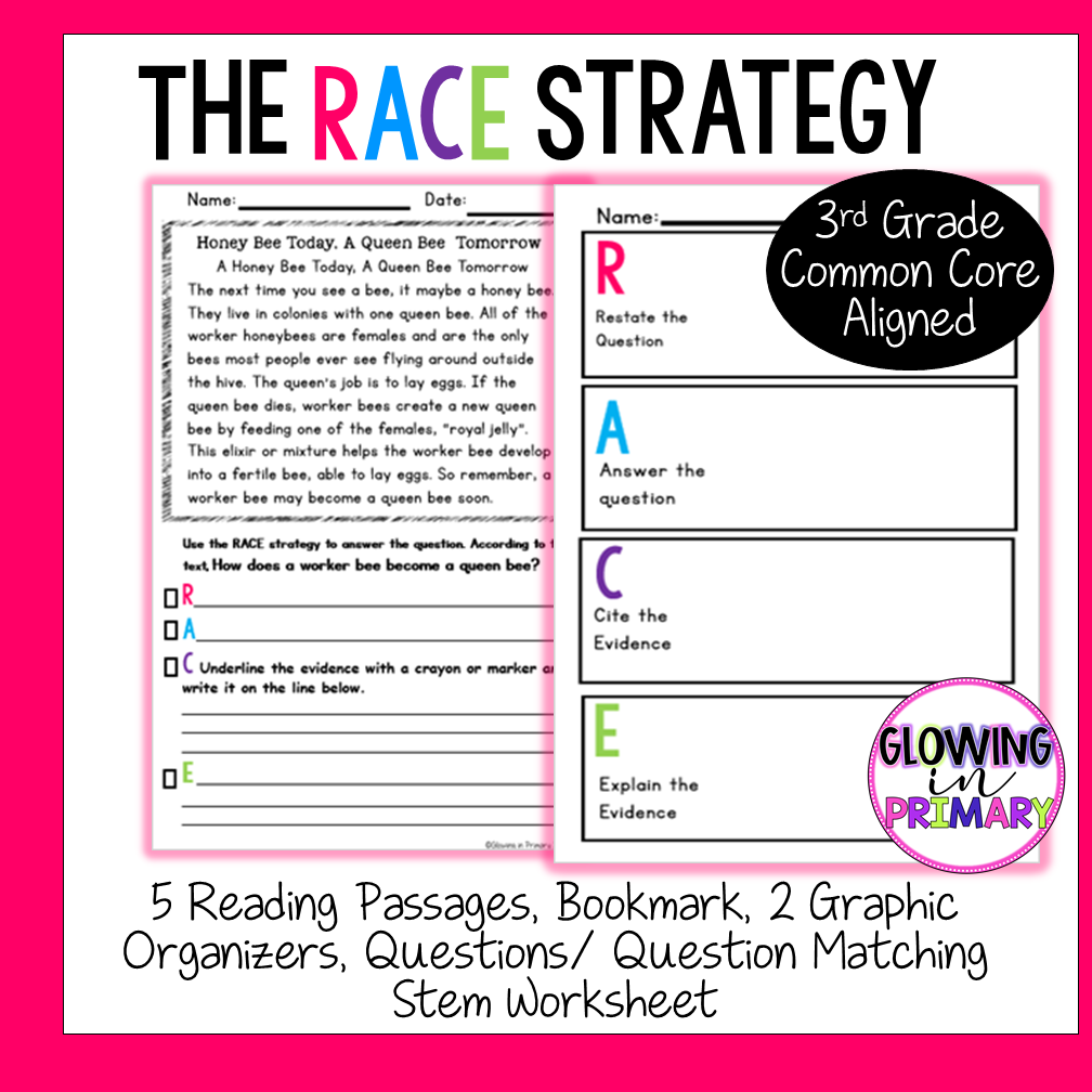 $3.75 Writing with the RACE Strategy for 3rd Grade   Races writing  strategy [ 1008 x 1008 Pixel ]