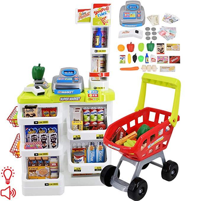 Amazon Com Deao Kids Role Play Supermarket Set Superstore Shop