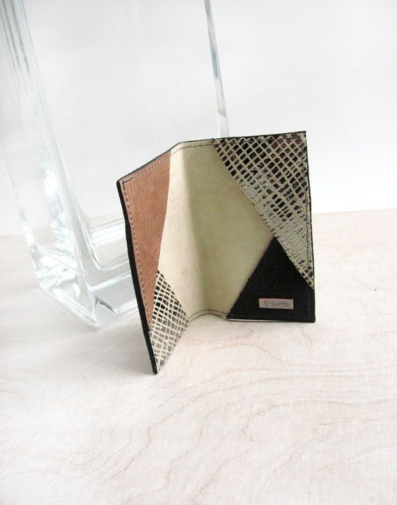 cream suede with silver pattern card holder with