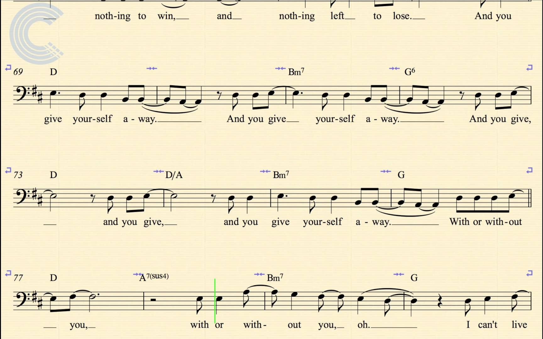 Cello With Or Without You U2 Sheet Music Chords Vocals