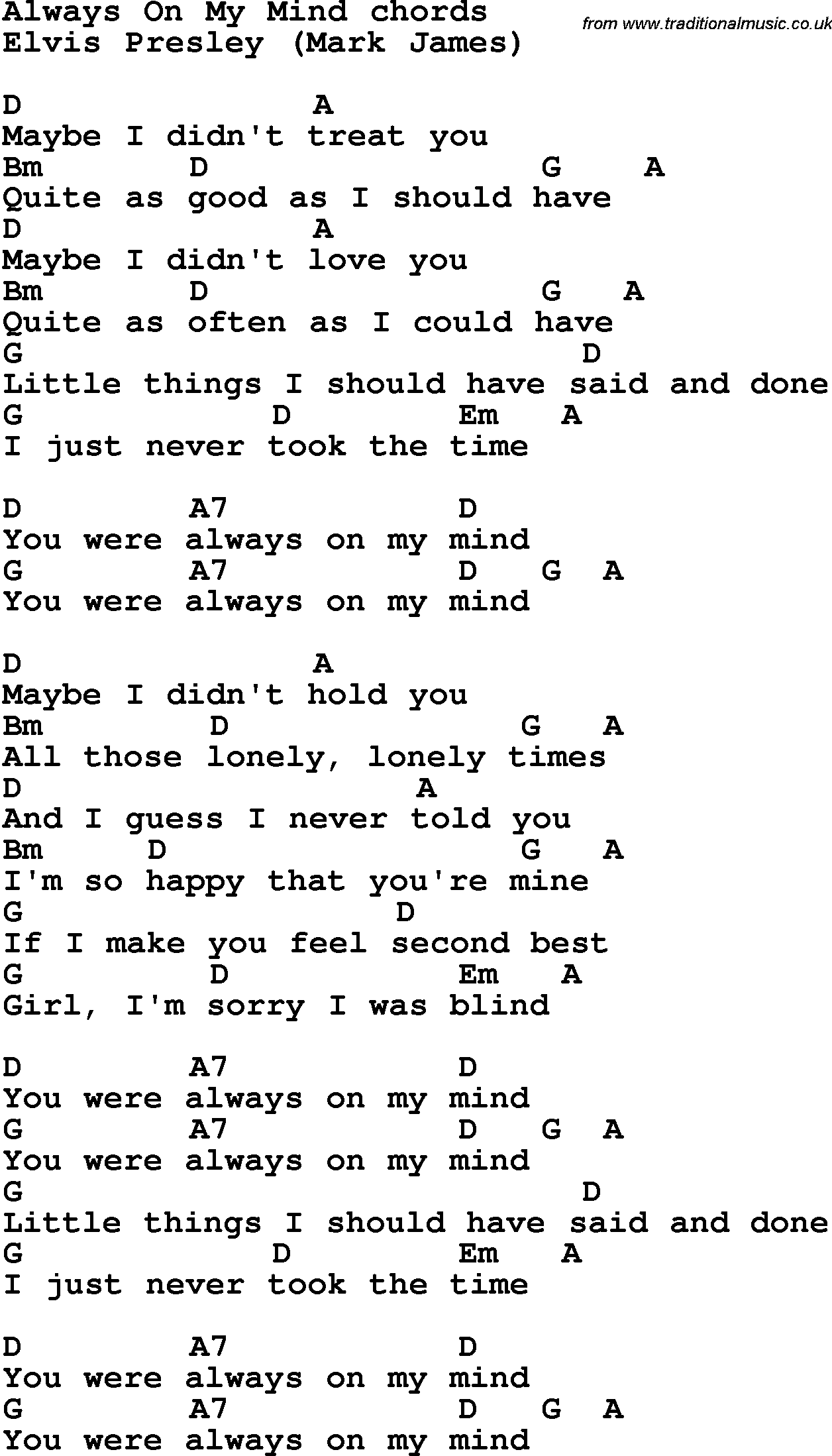 Song Lyrics With Guitar Chords For Always On My Mind Uke
