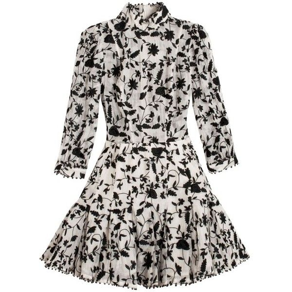 Zimmermann Master Embroidered Tuck Dress ($1,600) ❤ liked on Polyvore featuring dresses, flared skirt, white fitted dress, embroidered dress, embroidery dress and pleated circle skirt