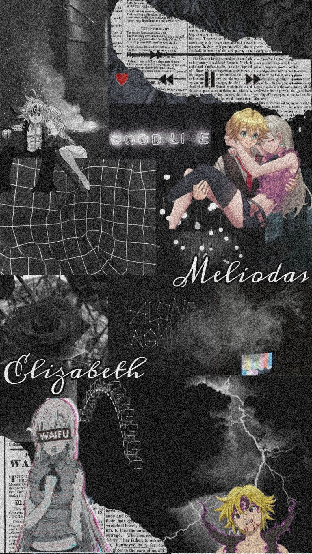 Meliodas And Elizabeth Aesthetic Black Wallpaper Christmas Collage Seven Deadly Sins Anime Black Aesthetic Wallpaper