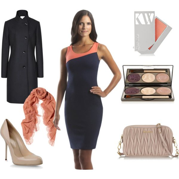 Clean lines and fabulous fall colors create a sophisticated outfit, featuring Perlae Couture's Navy and Coral Sleeveless Cocktail Dress. Pair it with a matching coral scarf and Navy Reiss Coat for those cool fall days. Match this with nude pumps and a textured Miu Miu leather shoulder bag for a stylish, unforgettable look! #navydress #colorblock #fallfashion #fallstyle #PerlaeCouture