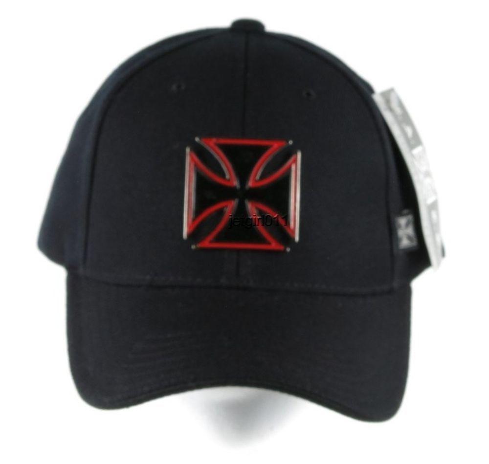 c1bc8a4b7 LA County Choppers Baseball Cap Hat Black Red Metal Emblem Velcro ...