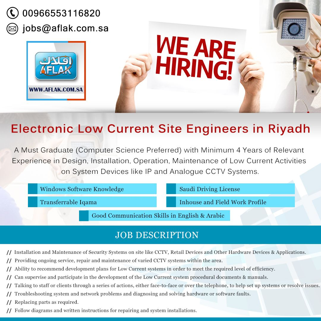 Come Join Us Aflak Is Now Hiring Low Current Engineers For Its