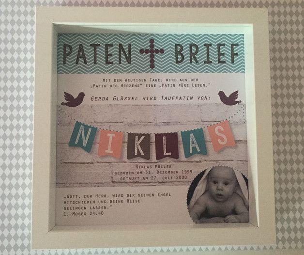 Personalisierter Patenbrief Mit Rahmen Pinterest